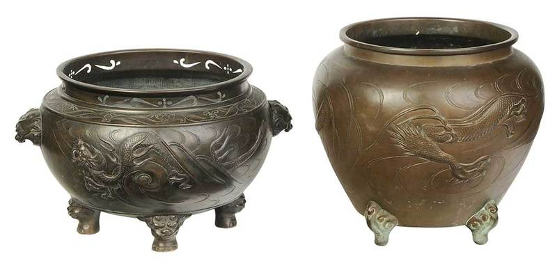 Two Chinese Bronze Dragon Cachepots
