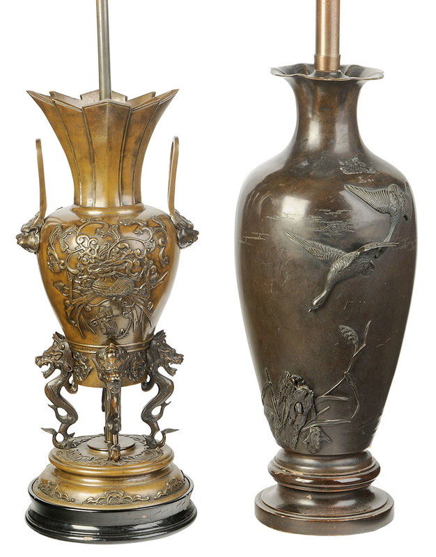 Two Sculpted Bronze Urn Form Table Lamps
