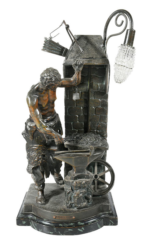 Figural Lamp of Blacksmith At Forge