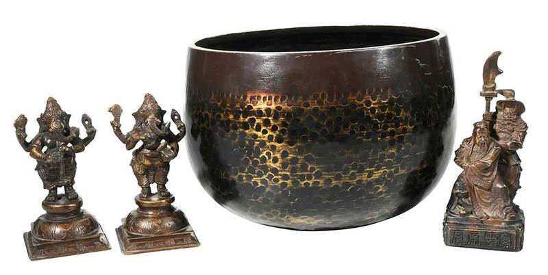 Four BronzeObjects, Singing Bowl and Figurines