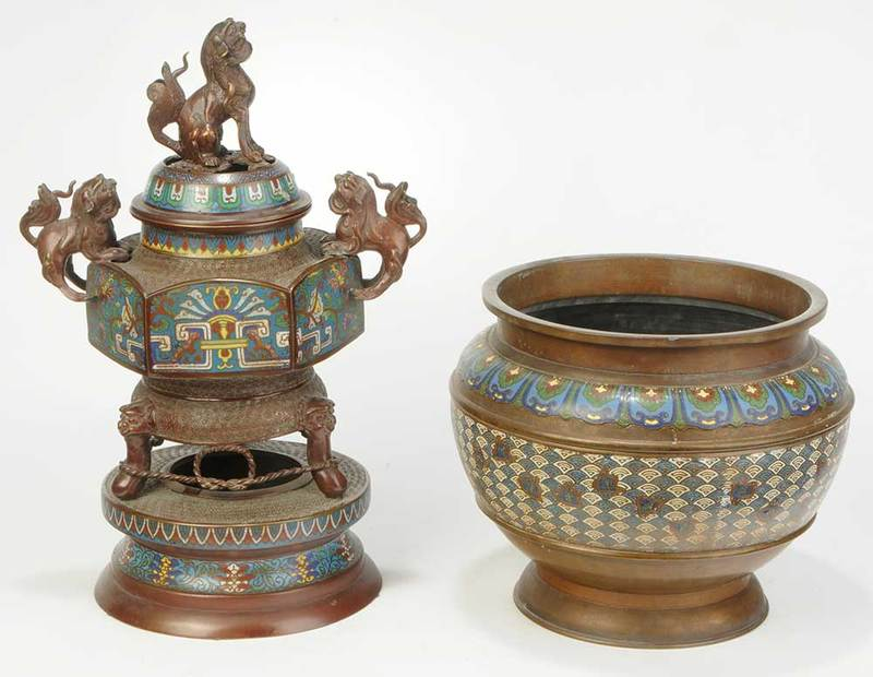 Two Asian Champlevé Bronze Vessels