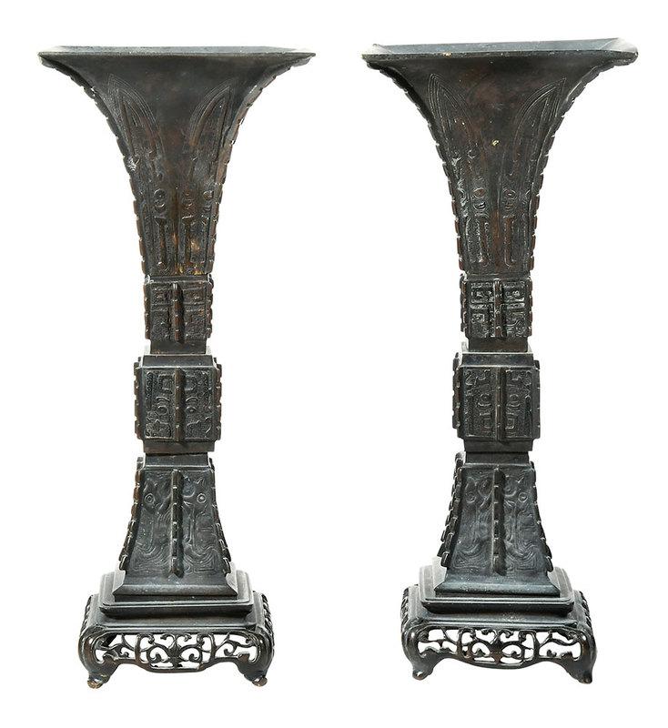 Pair Square Bronze Gu-Form Vases