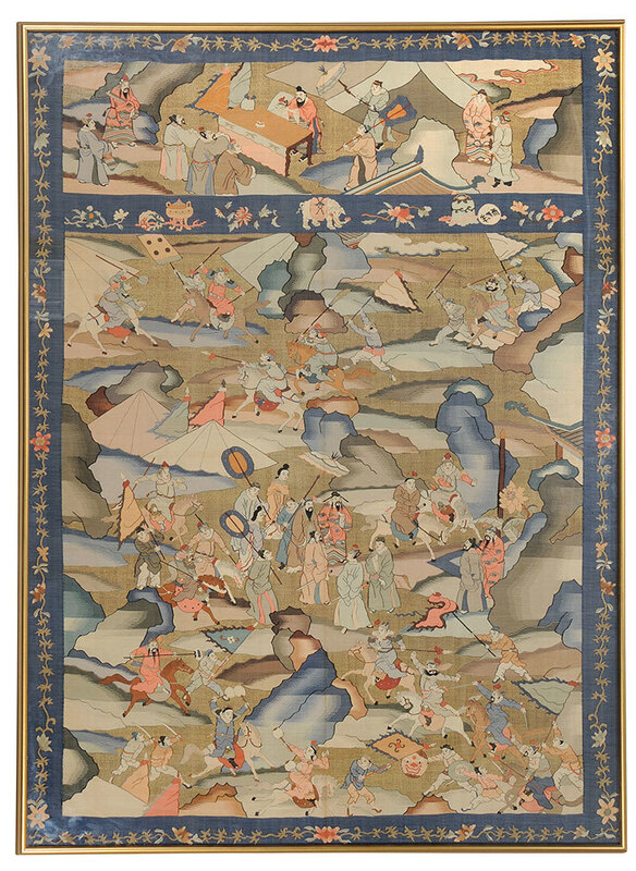 Chinese Kesi Slit Tapestry of Epic Battle
