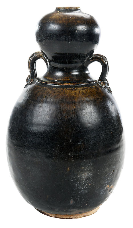 Chinese Iron Brown Glazed Double Gourd Vase