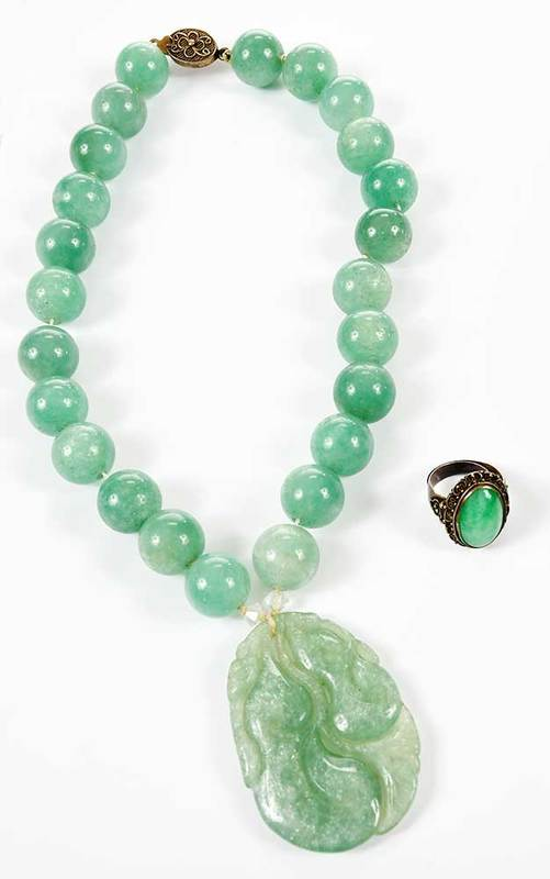 Silver Green Hardstone Necklace & Ring