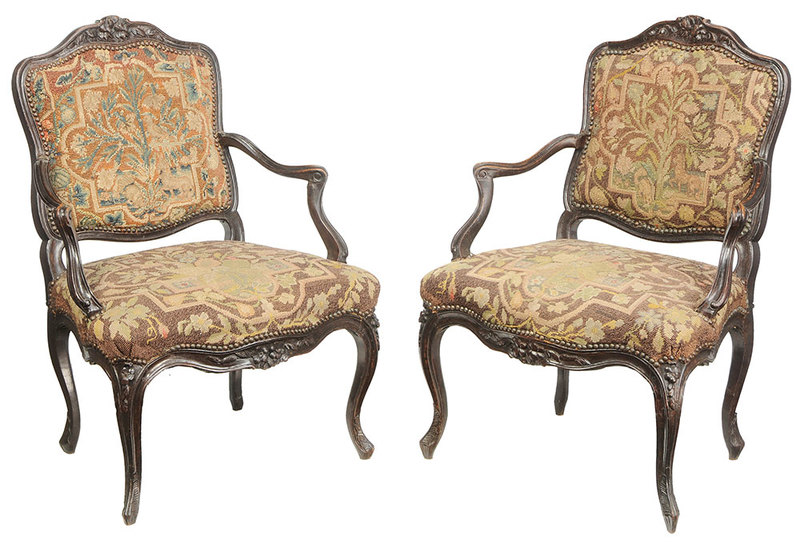 Pair Louis XV Open Arm Chairs