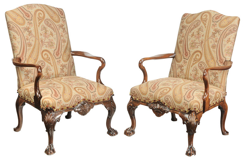 Pair George II Style Carved Library Chairs