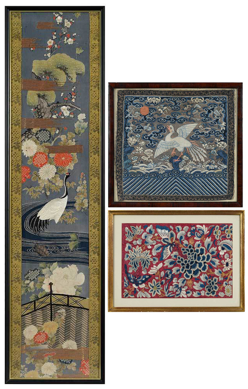 Three Framed Asian Textiles