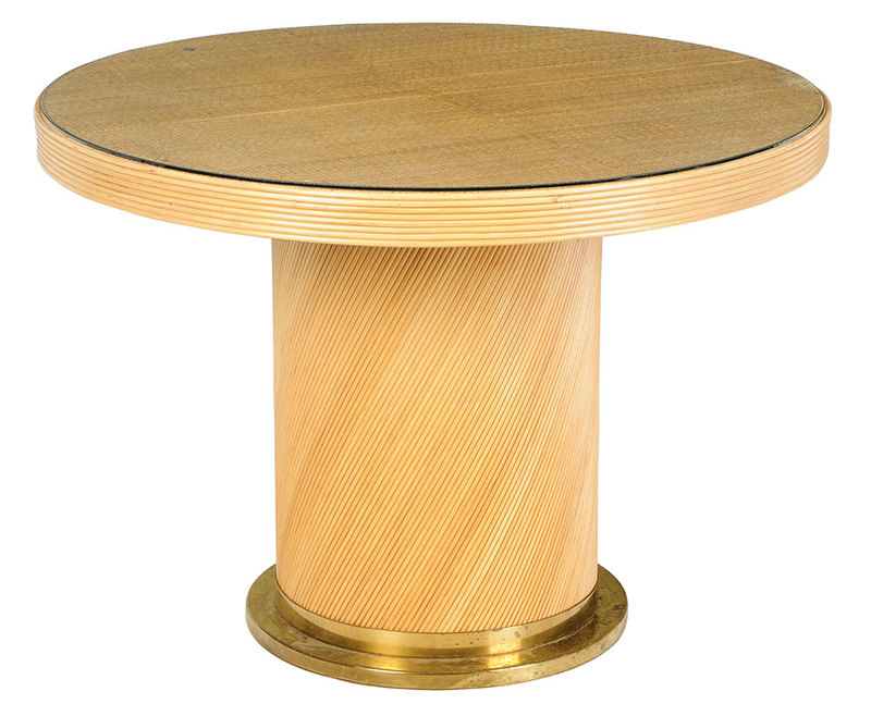 Rattan and Brass Mounted Center Table