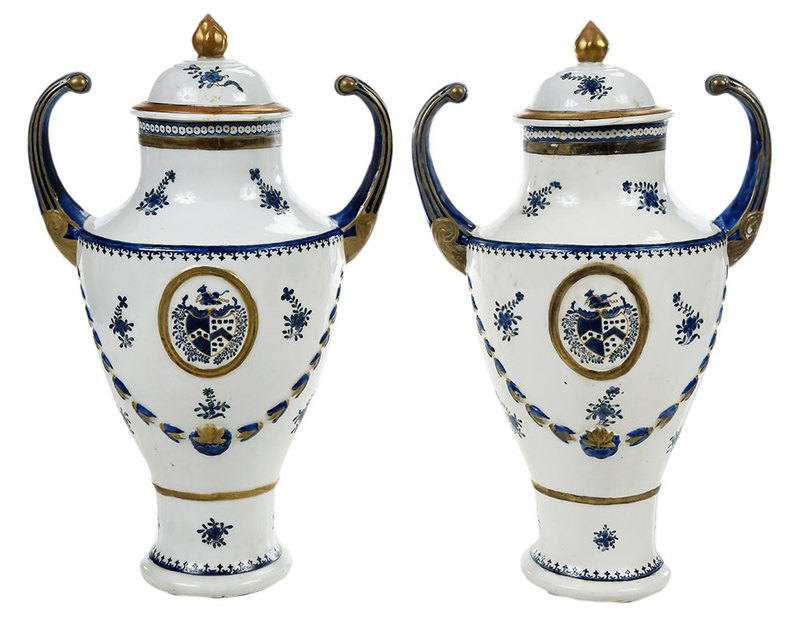 Pair of Chinese Export Armorial Urns