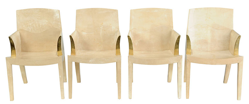 Four Lorin Marsh Lacquered Goatskin Chairs
