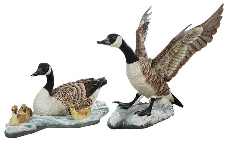 Pair Boehm Canadian Geese with Ducklings