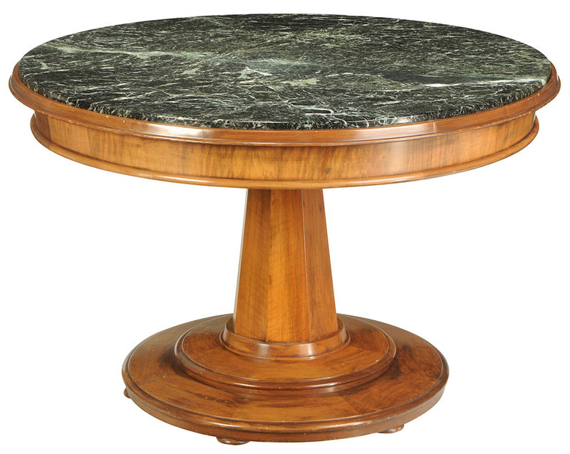 Neoclassical Walnut Marble Top Center Table
