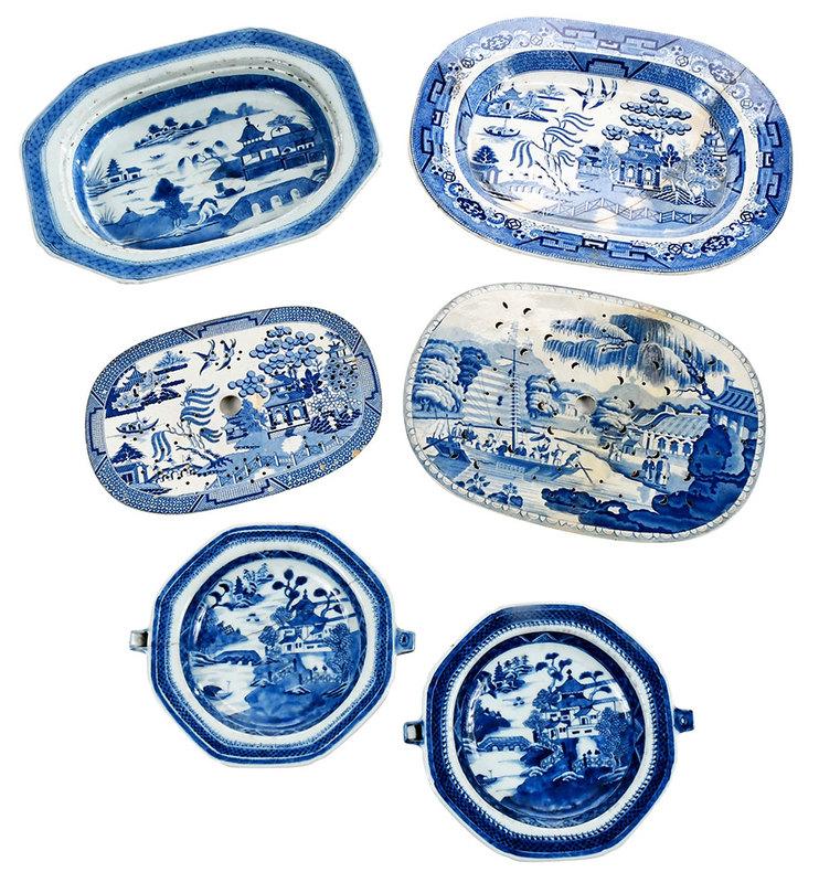 Six Canton Porcelain Serving Pieces