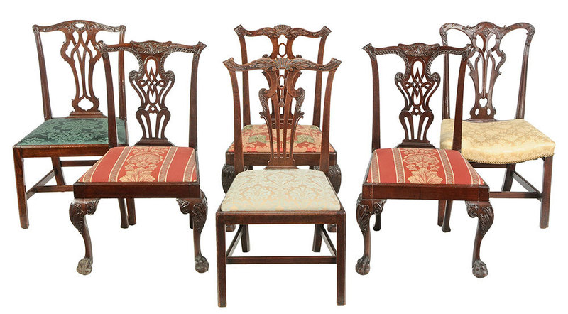 Assembled Set Six Chippendale Dining Chairs