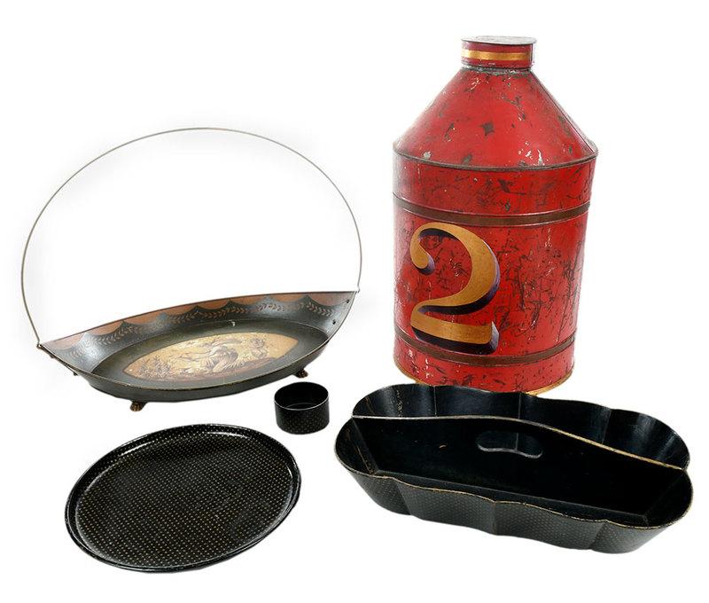 Five Decorative Tole and Lacquer Items