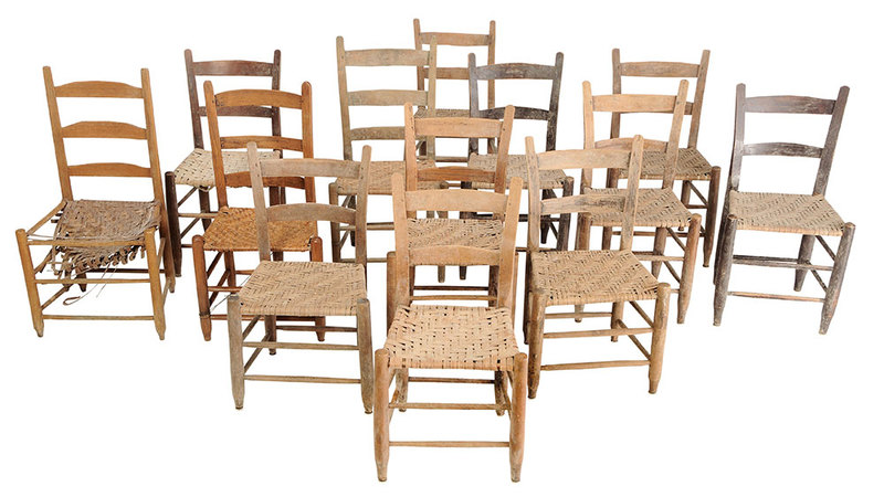 Assembled Set 13 Country Bent Back Chairs