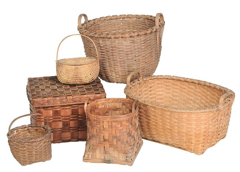 Six Vintage Split Oak Baskets