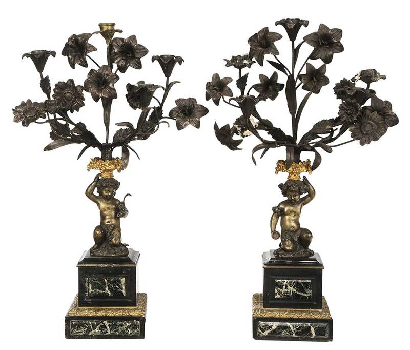Pair Louis XV Style Figural Putto Candelabra