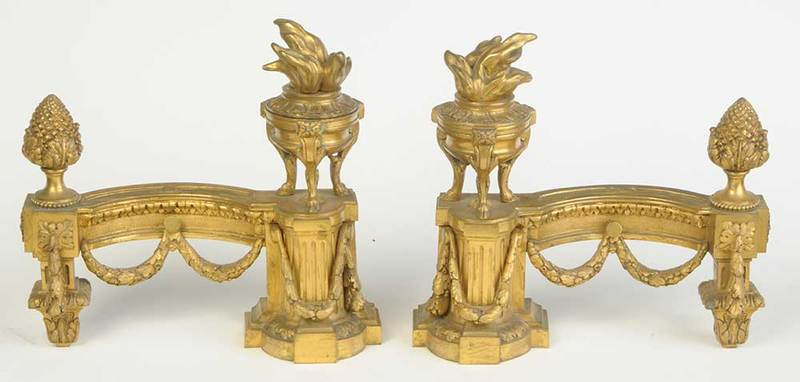 Pair Louis XVI Style Gilt Bronze Chenets