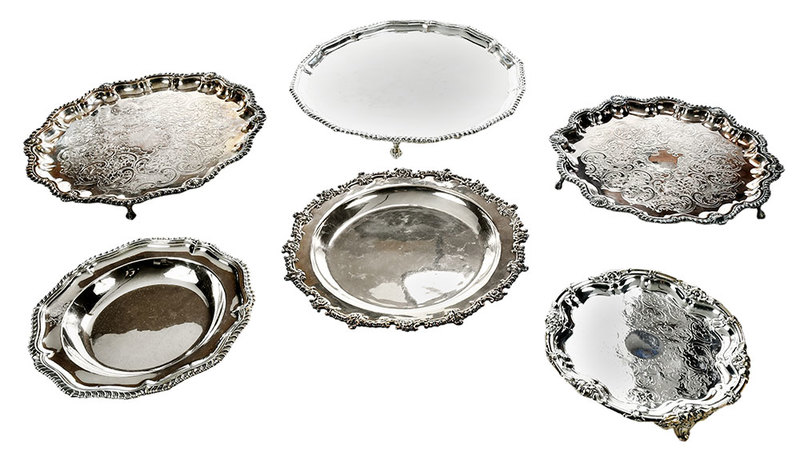 Six Silver-Plate Trays