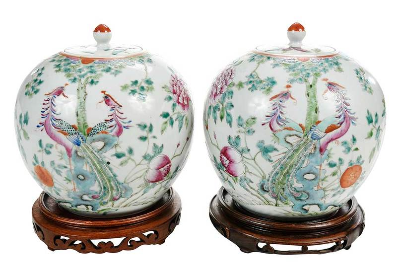 Pair Famille Rose Covered Jars