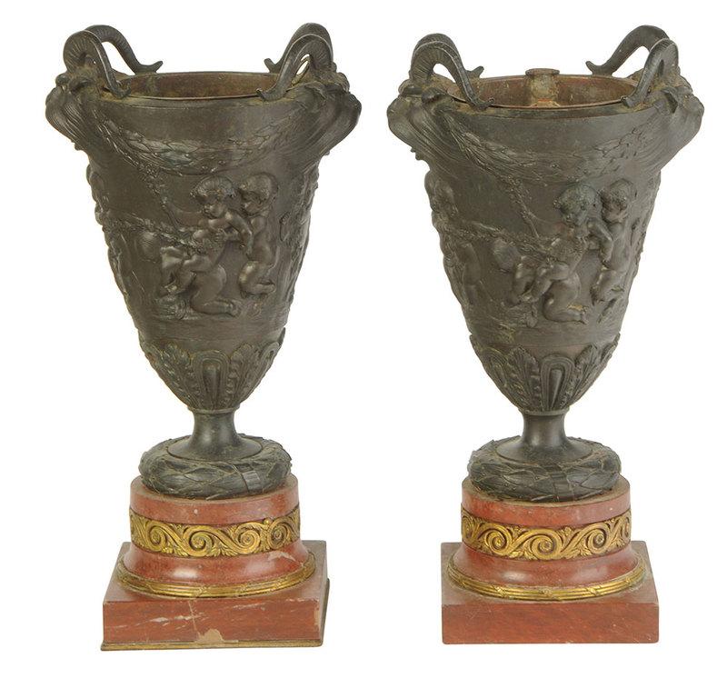 Pair Grand Tour Patinated Bronze Urns