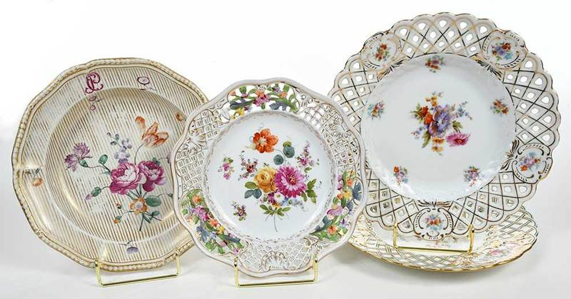 Decorated Plates, Minton, Dresden, Frankenthal