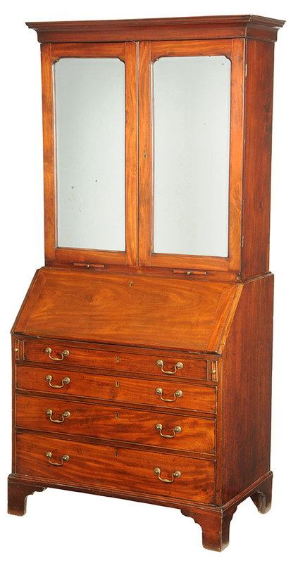 George III Mahogany Mirror Door Secretary