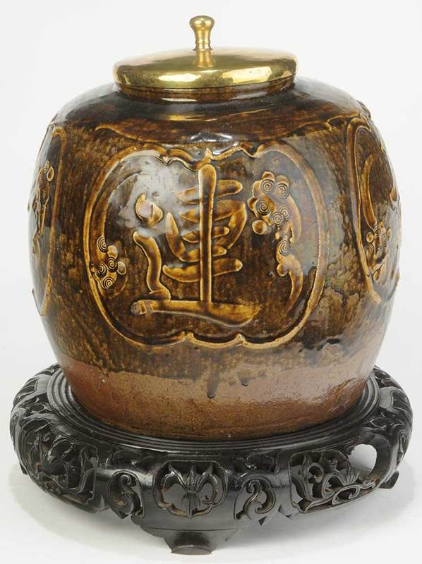 Large Chinese Prosperity Jar on Carved Stand