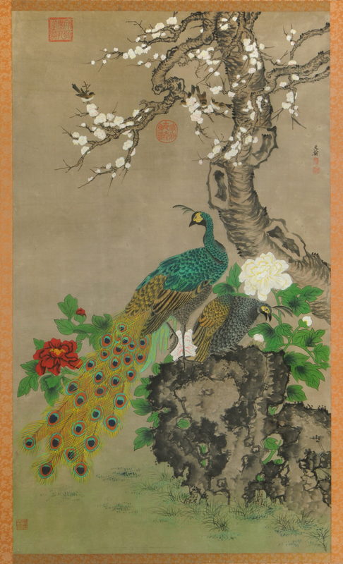 Large Framed Chinese Scroll of Peacock