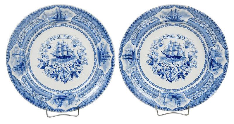 Two Rare Royal Navy Mess Plates No. 10