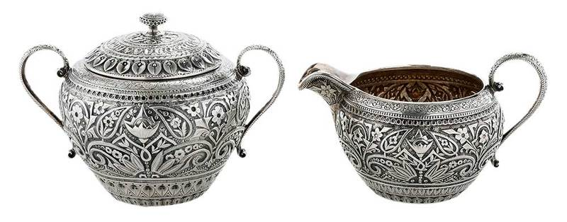 Aesthetic Movement Sterling Creamer and Sugar