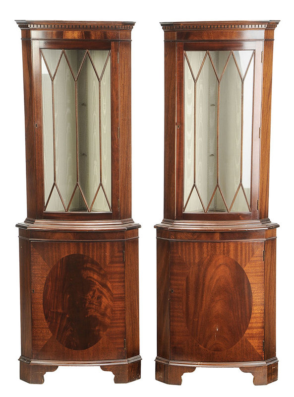Pair Chippendale Style Mahogany Corner Cabinets