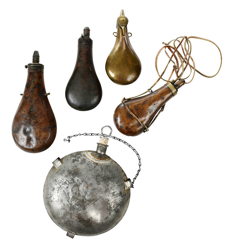 Five Antique Powder Flasks
