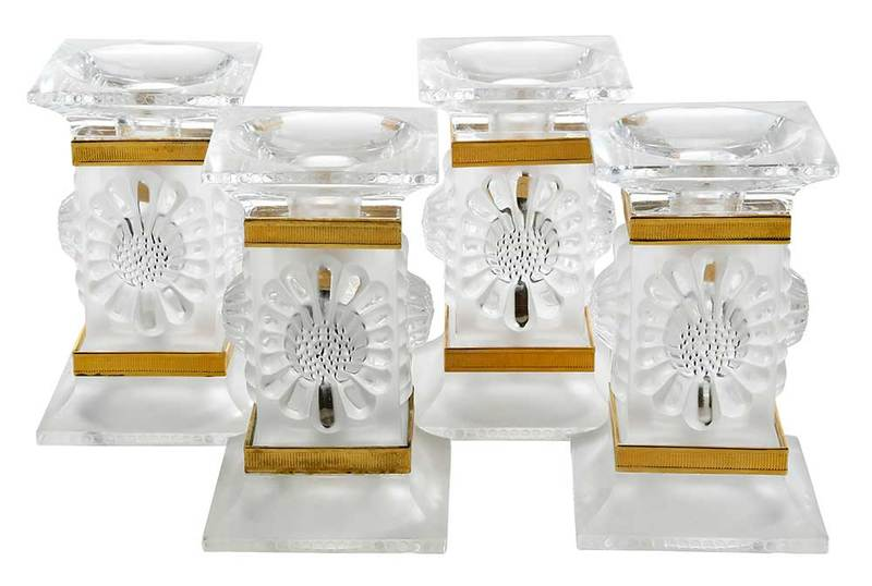 Four Lalique Frosted Glass Candlesticks