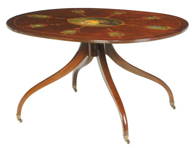 Regency Style Paint-Decorated Pedestal Table