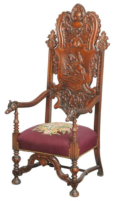 Renaissance Style Figural Dog-Carved Armchair