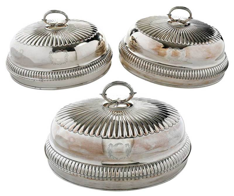 Three Old Sheffield Plate Entree Covers