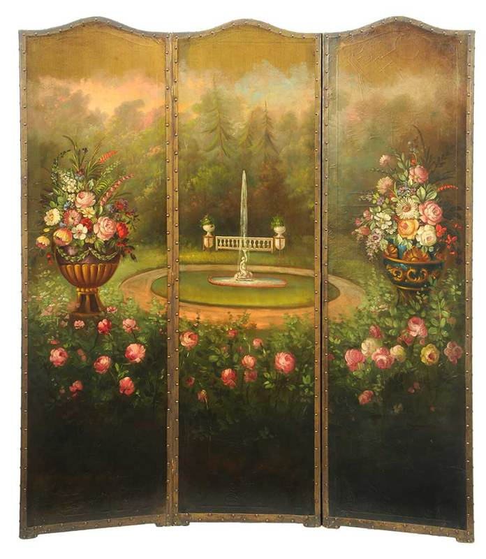 Vintage Hand-Painted Leather Room Screen
