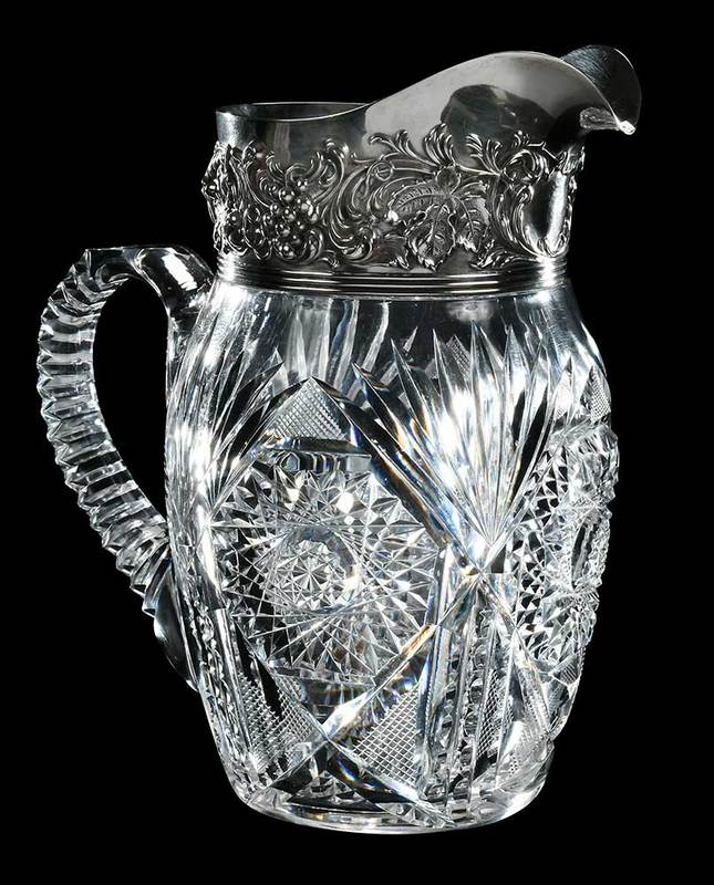 Silver Mounted Cut Glass Pitcher