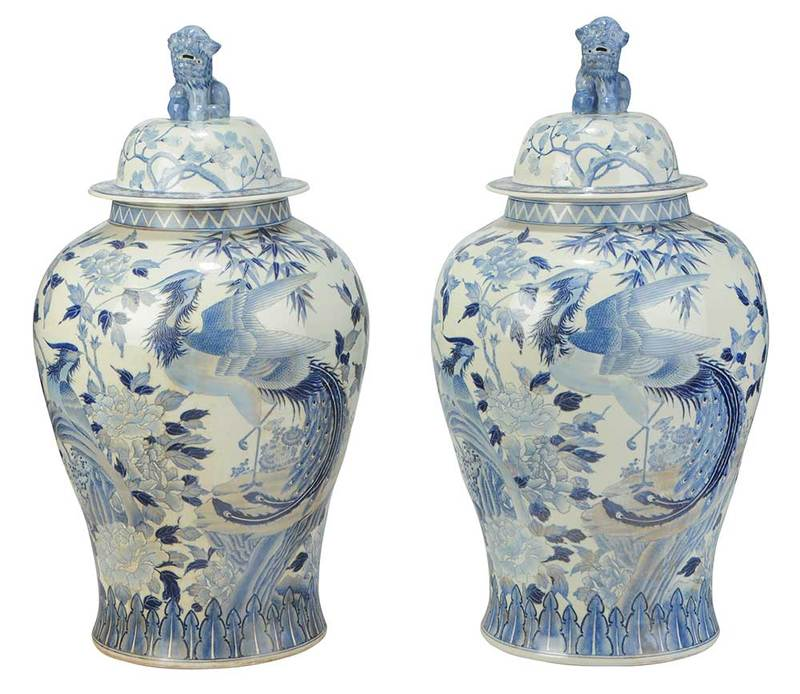 Pair Blue and White Chinese Temple Jars
