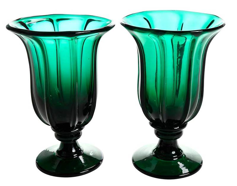 Pair Hand Blown Emerald Green Footed Vases