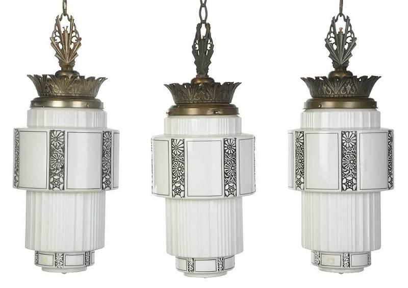 Three Art Deco Style Hanging Lights