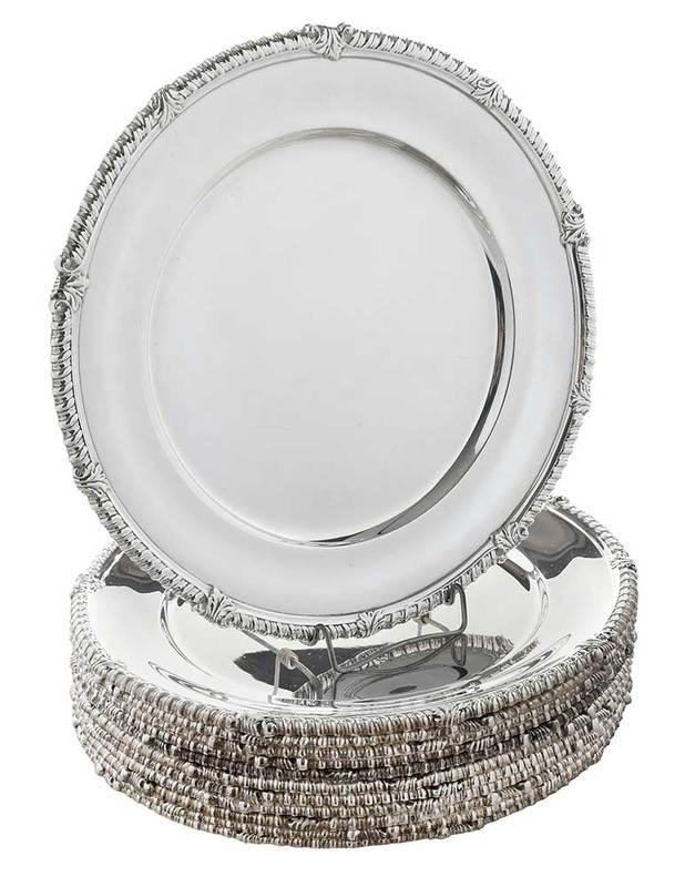 Set of Twelve Tiffany Sterling Plates