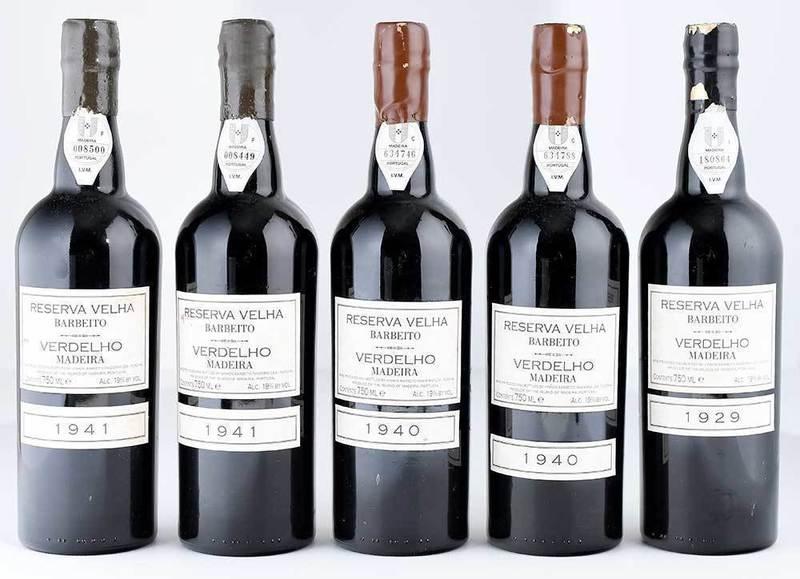 Five Vintage Bottles Fine Barbeito Verdelho Reserva Velha Madeira