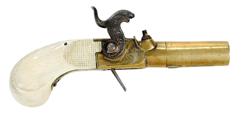 Carved Ivory Percussion Muff Pistol