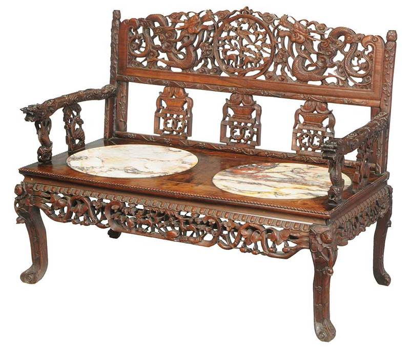 Chinese Carved Hardwood Marble-Inset Settee