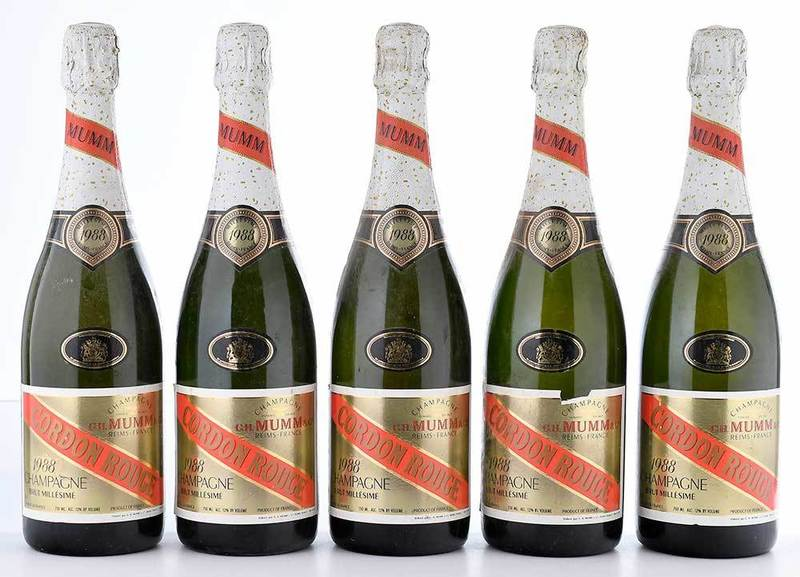 Five Bottles 1988 G.H. Mumm Cordon Rouge Champagne Brut