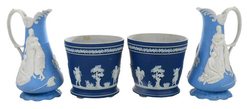Two Pairs Wedgwood Style Table Items
